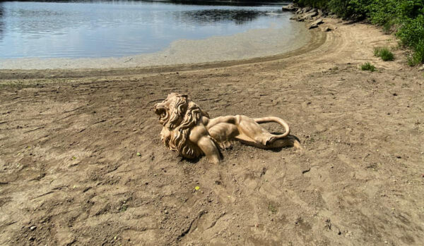 w4stone Löwe Statue im Sand